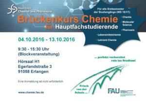 Poster zum Hauptfach-Brückenkurs 2016 (Bild: FAU)