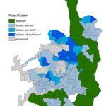 Beispielkarten zur Darstellung von Jerusalem in OpenStreetMap: Die Bezirke Jerusalems sind nach den mehrheitlichen Bevölkerungsgruppen eingefärbt: arabisch (grün), jüdisch-säkular (hellblau), jüdisch-ultraorthodox (dunkelblau). (Grafik: Christian Bittner)