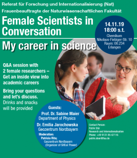 "Zum Artikel ""Einladung zu ""Female Scientists in Conversation: my career in science"" am 14.11.2019"""