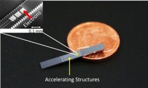 In Silizium geätzte photonische Beschleunigerstrukturen. Der Euro-Cent dient zum Größenvergleich. Die eigentlichen Beschleunigerstrukturen können nur mit Hilfe einer elektronenmikroskopischen Aufnahme klar aufgelöst werden (oben links). (Bild: FAU/LS für Laserphysik)